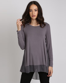 Queenspark Catherine Floater Core Knit Top Charcoal