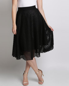 Queenspark Hoop Glamour Woven Skirt Black