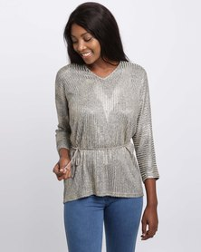 Queenspark Cath.Nic Belted Knit Top Gold