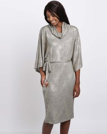 Queenspark Cath.Nic Kimono Sleeve Cowl Neck Knit Dress Gold