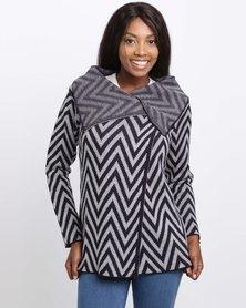 Queenspark Geometric Design Knitwear Cardigan Navy