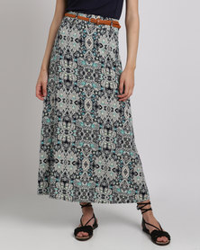 Queenspark Printed Woven Maxi Skirt With Belt Blue