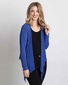Queenspark Knit Mesh Cover Up Cobalt