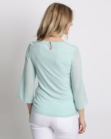 Queenspark Layered Woven Blouse Aqua