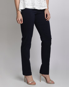 Queenspark Long Stretch Woven Trousers With Zip And Stitch Detail Navy