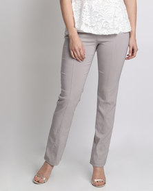 Queenspark Long Stretch Woven Trousers With Zip And Stitch Detail Silver
