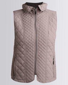 Queenspark Fancy Quilt Gilet Woven Jacket Mocha
