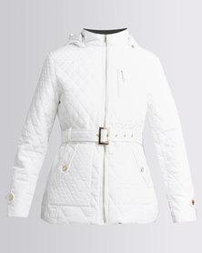 Queenspark Smart Hooded Puffer Woven Jacket White