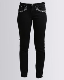 Queenspark Woven Denim Programme Jeans With Embroidery Black