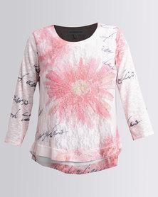 Queenspark Printed Large Floral Knit Top Pink