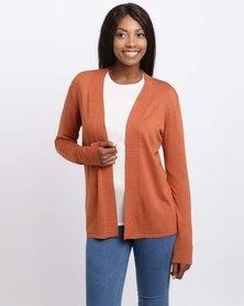 Queenspark Rib Detail Knitwear Cardigan Orange