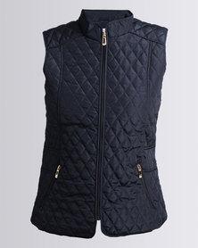 Queenspark Sleeveless Woven Puffer Jacket With Zip Detail Navy
