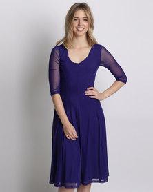 Queenspark Plain Fit & Flare Mesh Knit Dress Purple
