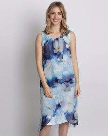 Queenspark Printed Pretty Floral Woven Overlay Dress Purple
