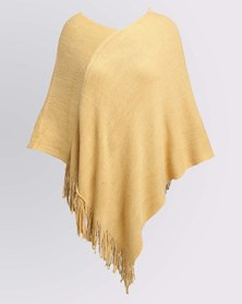 Queenspark Soft Touch V Neck Poncho Mustard