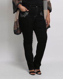 Queenspark Plus Full Length Embroidered Denim Jeans Black
