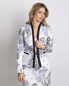 Queenspark Printed Woven Jacket Blue