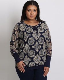 Queenspark Plus Lace & Knit Batwing Top Navy