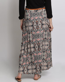Queenspark Printed Woven Maxi Skirt With Belt Pink