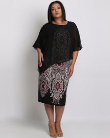 Queenspark Plus Layered Border Printed Knit Dress Black