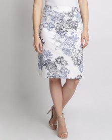 Queenspark Printed Woven Skirt Blue