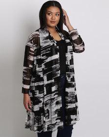 Queenspark Plus Printed Mesh Soft Knit Jacket Black & White