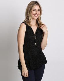 Queenspark Zip Detail Lace Knit Top Black