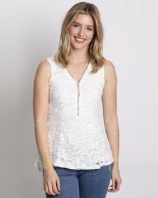 Queenspark Zip Detail Lace Knit Top White