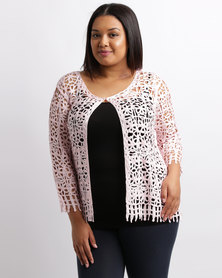 Queenspark Plus New Ribbon Knit Glamour Jacket Pink