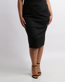 Queenspark Plus Styled Knit Skirt Black