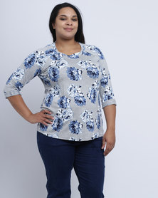 Queenspark Plus New Floral Printed Knit Top Blue