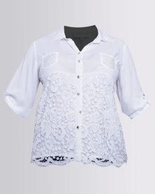Queenspark Plus New Lace Trim Woven Shirt White
