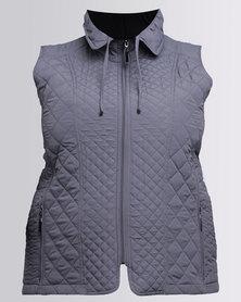 Queenspark Plus Quilt Detail Puffer Woven Jacket Silver