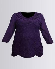 Queenspark Plus Self Colour Cornelli Knit Top Purple