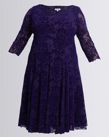 Queenspark Plus Fancy Flocked Knit Dress Purple