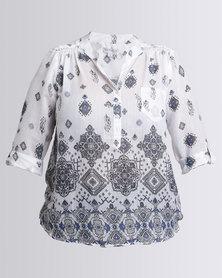 Queenspark Plus Border Printed Ghost Woven Shirt Silver