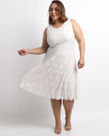 Queenspark Plus Flared Spot Lace Knit Dress Cream
