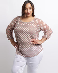 Queenspark Plus Mesh Spot Knit Top Taupe