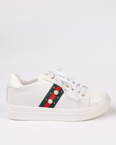 Queenspark Lace Up Trainer White