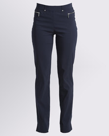 Queenspark Cath.Nic Pull On Bengaline Stretch Woven Trouser Navy