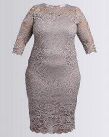 Queenspark Plus Styled Lace Knit Dress Mocha