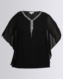 Queenspark Plus Beaded Flutter Sleeve Woven Blouse Black