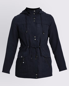 Queenspark  Woven Suede Casual Coat With Hardware Detail Navy
