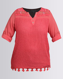 Queenspark Plus Detailed Woven Casual Blouse Cerise