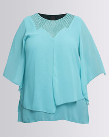 Queenspark Plus Beaded Double Layer Woven Blouse Teal
