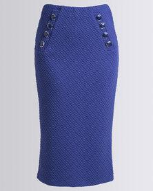 Queenspark Pull-On Knit Skirt Cobalt