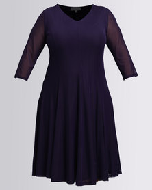 Queenspark Plus Styled Panelled Mesh Knit Dress Purple