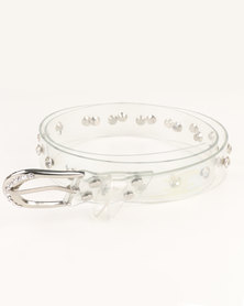 Queenspark Fine Diamante Trim with Flowers On Jelly Belt Clear