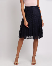Queenspark Lace Fit & Flare Knit Skirt Navy