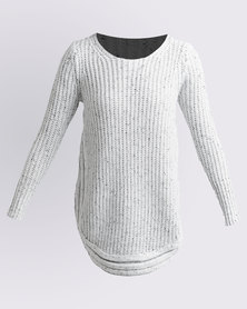 Queenspark Cath.Nic Scooped Fancy Stitch Knitwear White